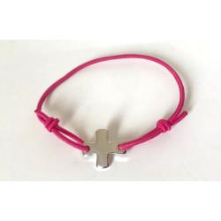 Bracelet élastique rose framboise avec croix