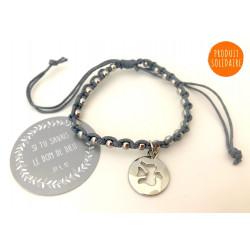 Bracelet colombe en fil tressé perles argentées
