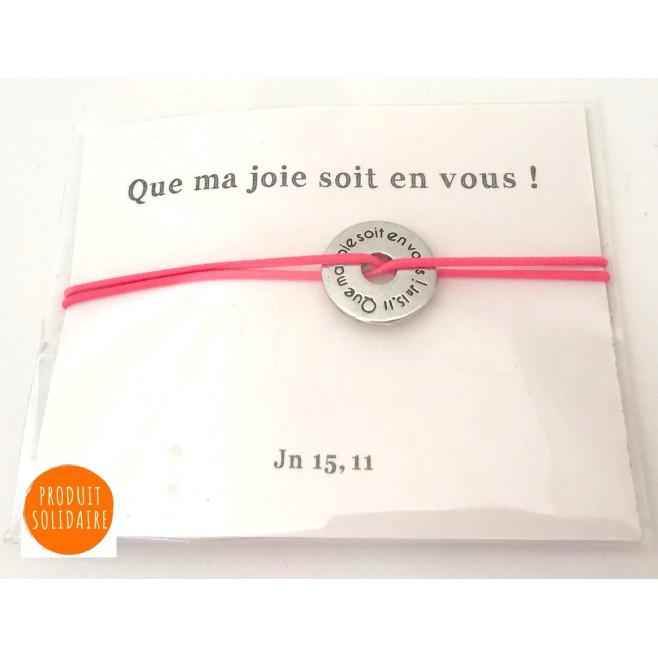 """Bracelet élastique médaille """"que ma joie soit en vous"""" GRIS"""
