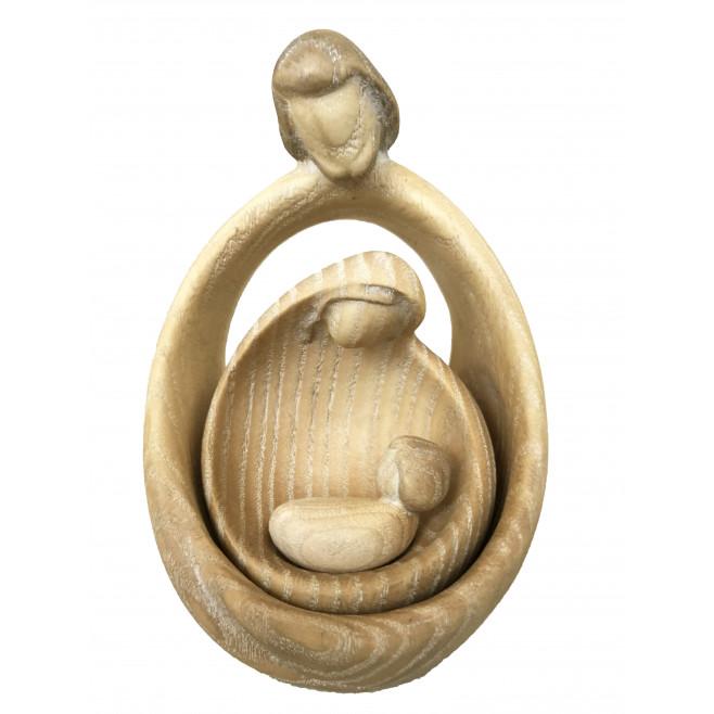 Statue moderne Sainte Famille bois décoré - 12cm