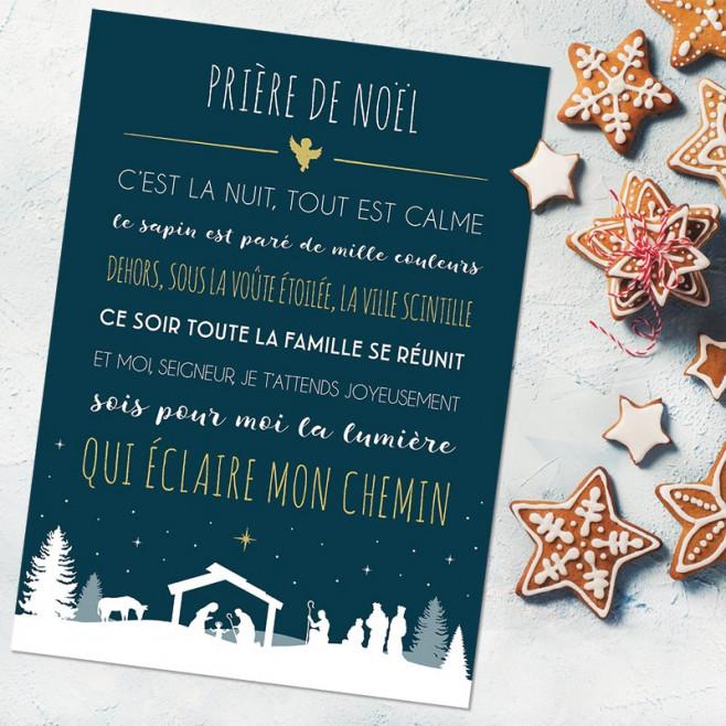 """Carte déco """"Prière de Noël"""" - Bleu nuit 15X21"""