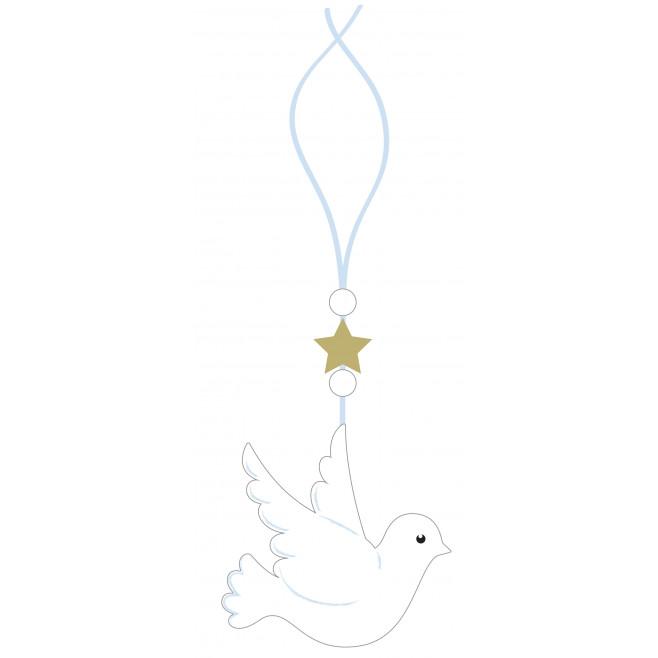 Cadeau de Baptême Colombe blanche et bleu
