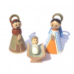 Sainte Famille en bois doré avec décor étoile