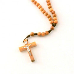 Chapelet bois olivier avec Christ