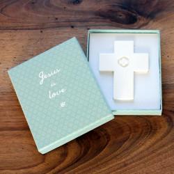 Croix en porcelaine 'petite fleur'