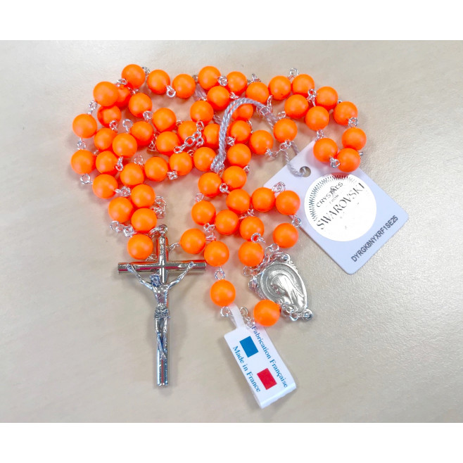 Chapelet orange fluo perles Swarovski véritables