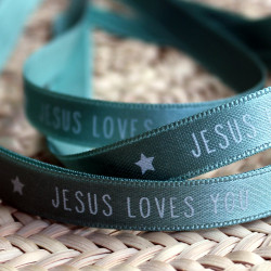 "Bracelet ruban vert d'eau ""Jesus loves you"""