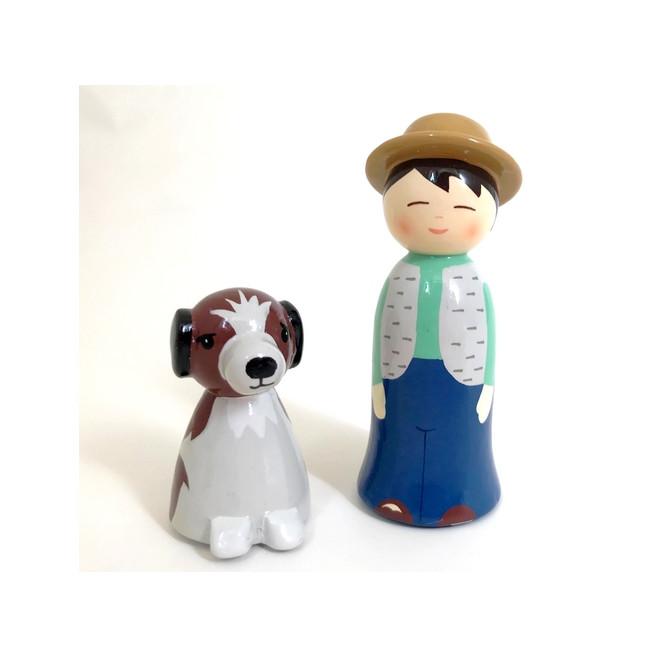 Garçon et son chien - Crèche de Noël en bois tourné