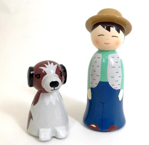 Garçon et son chien Crèche de Noël en bois tourné | Comptoir Reli