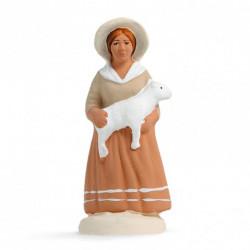 Bergère à l'agneau - Arterra - 7cm - blanc
