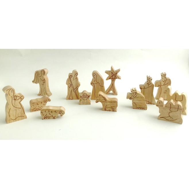Crèche de Noël en bois - 14 santons
