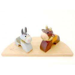Âne et Bœuf en bois coloré et doré