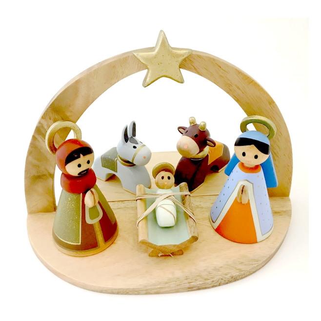 Crèche en bois coloré et doré - 5 personnages