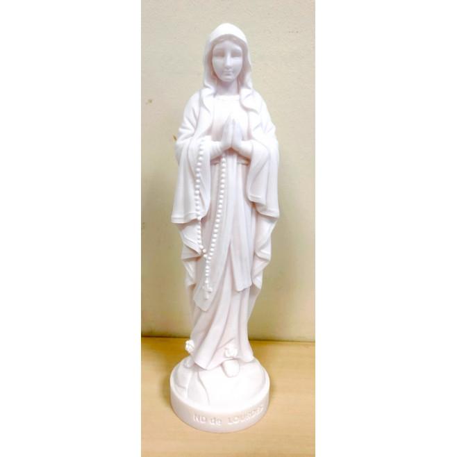 Statue Notre Dame de Lourdes en albâtre - 17cm