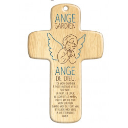 Croix bois Petit Ange Gardien en prière