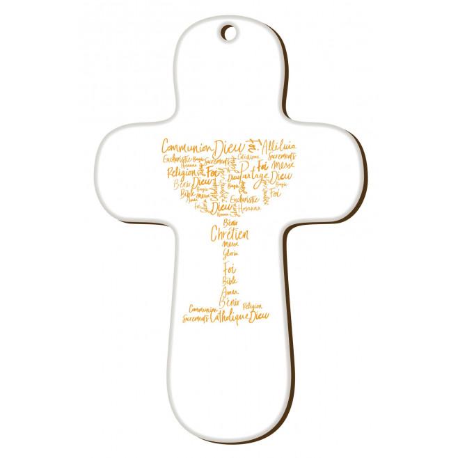"""Croix """"au fil des mots"""" Communion jaune"""