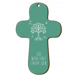 """Croix """"au fil des symboles"""" Arbre de vie verte"""