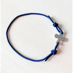 Bracelet élastique bleu marine avec croix