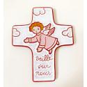 """Croix """"Ange gardien"""" rose en céramique artisanale"""