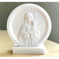 Statue Cadre Vierge mère en albâtre