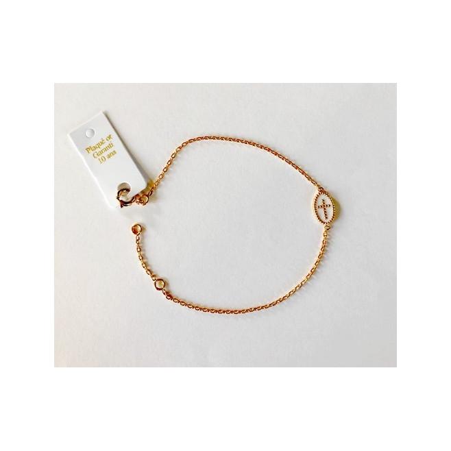 Bracelet plaqué or avec médaillon croix Blanc
