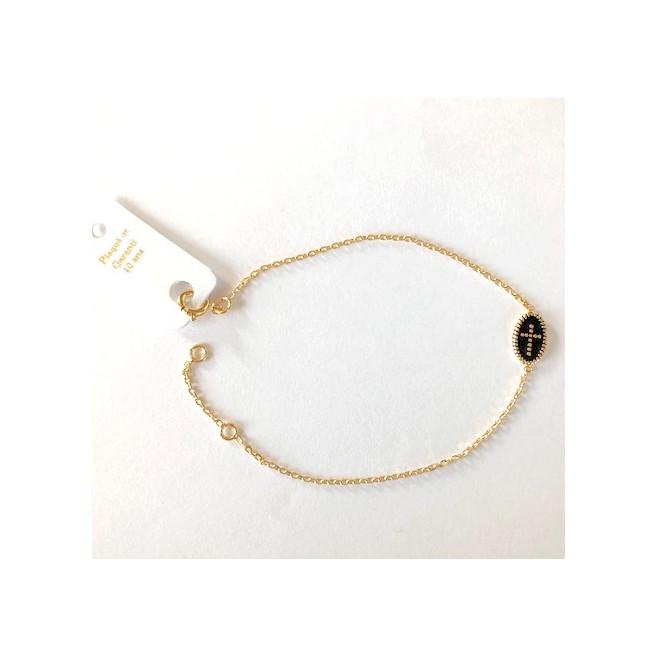 Bracelet plaqué or avec médaillon croix noir
