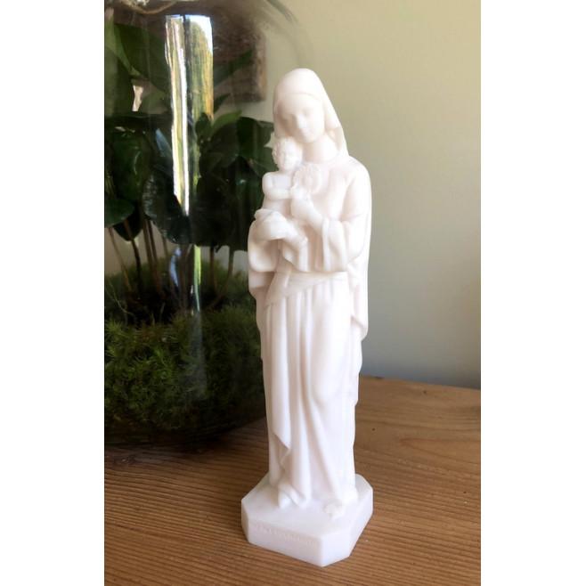 Statue Notre Dame de l'Eucharistie en albâtre - 17cm