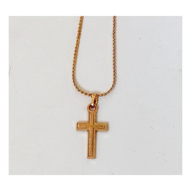 Chaine plaqué or avec croix