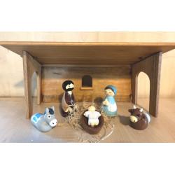 Etable en bois tourné pour creche de Noël