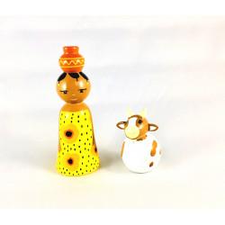 Africaine et sa chèvre - Crèche de Noël en bois tourné