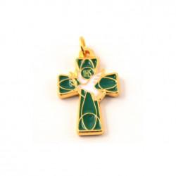Grande Croix de cou emaillée vert
