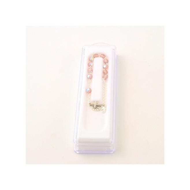 Bracelet Dizainier en perle de verre facettée - rose  clair