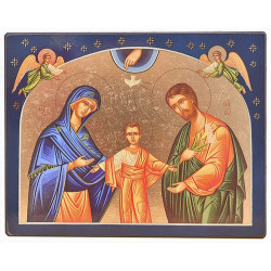ICONE RELIGIEUSE OR - 15.5x11.5 La Ste Famille aux étoiles