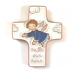 """Croix """"Ange gardien"""" bleu en céramique artisanale"""