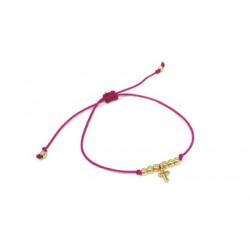 Bracelet cordon rose avec petite croix dorée