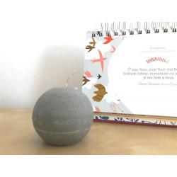 Bougie ronde - 6cm - gris clair
