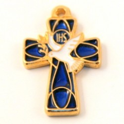 Croix de cou emaillée bleu foncé Saint Esprit