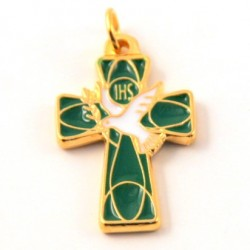 Croix de cou emaillée vert