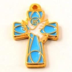 Croix de cou emaillée bleu clair Esprit Saint