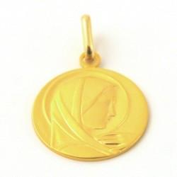 """Cadeau baptême - Médaille Or """"Vierge à la main"""" - Or"""